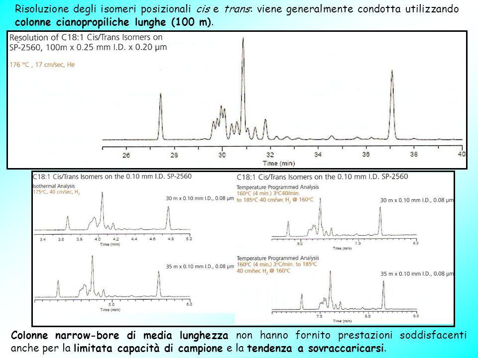 Risoluzione degli isomeri posizionali cis e trans: viene generalmente condotta utilizzando colonne cianopropiliche lunghe (100 m). Colonne narrow-bore