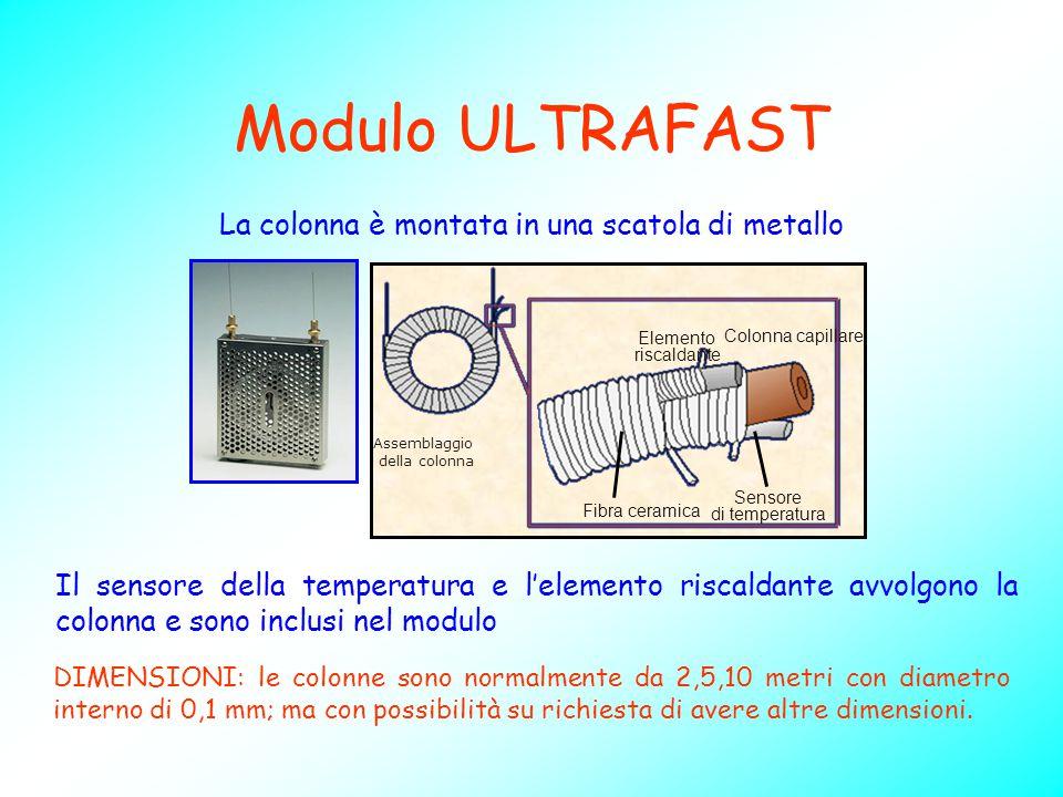 Modulo ULTRAFAST Il sensore della temperatura e l'elemento riscaldante avvolgono la colonna e sono inclusi nel modulo Colonna capillare Elemento risca
