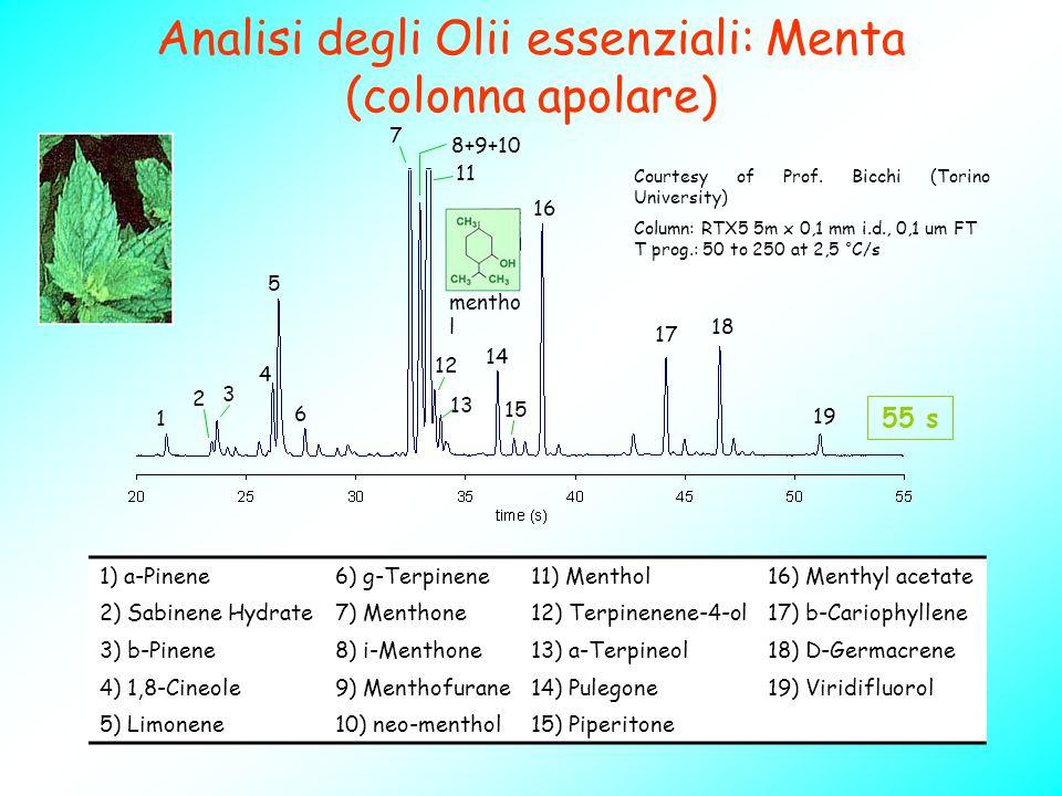 Analisi degli Olii essenziali: Menta (colonna apolare) 1) a-Pinene6) g-Terpinene11) Menthol16) Menthyl acetate 2) Sabinene Hydrate7) Menthone12) Terpi