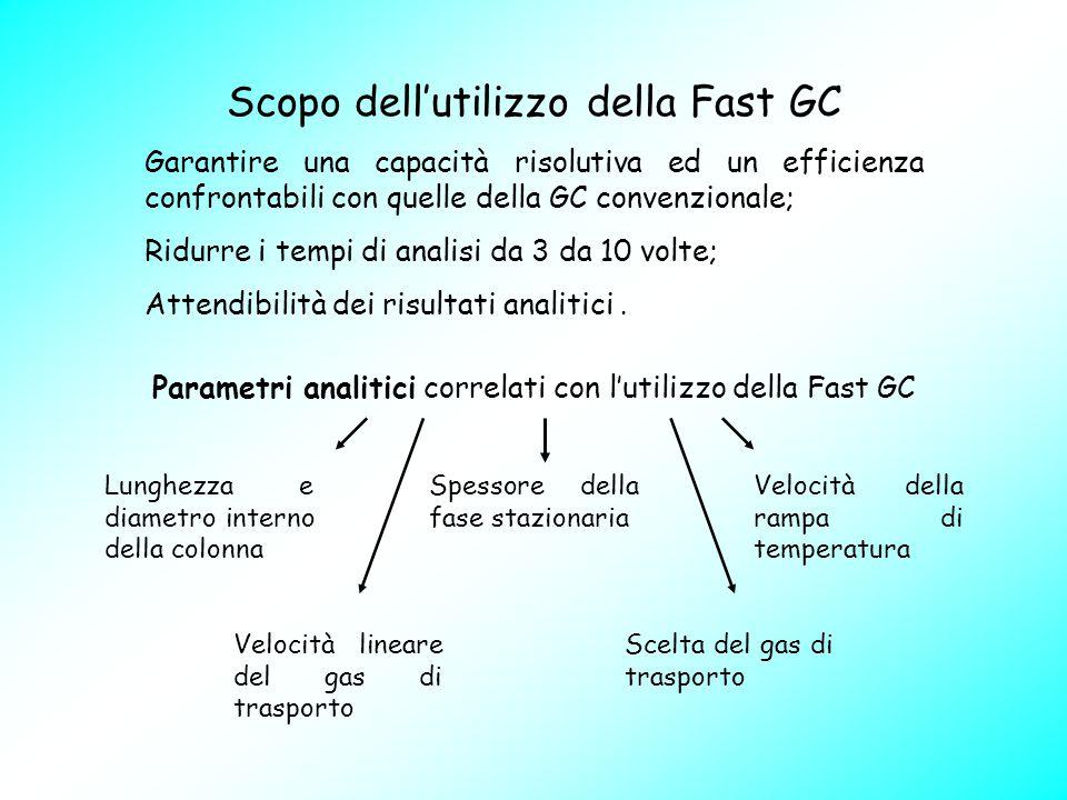 Scopo dell'utilizzo della Fast GC Garantire una capacità risolutiva ed un efficienza confrontabili con quelle della GC convenzionale; Ridurre i tempi