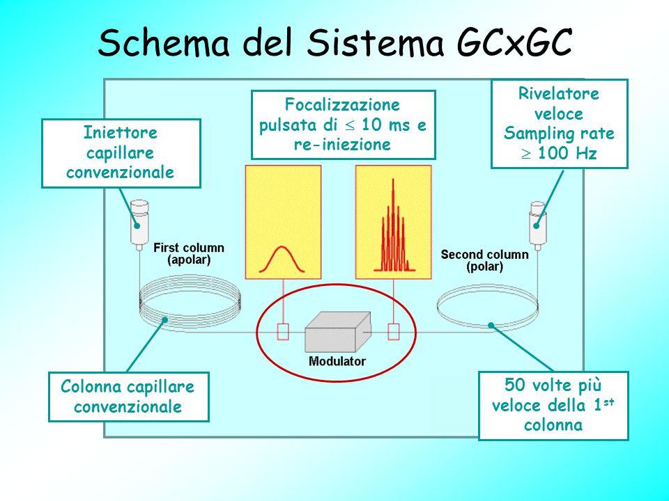Schema del Sistema GCxGC Colonna capillare convenzionale Focalizzazione pulsata di  10 ms e re-iniezione 50 volte più veloce della 1 st colonna Rivel