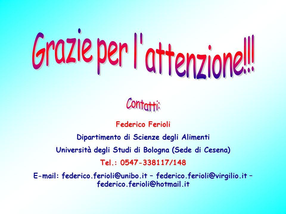 Federico Ferioli Dipartimento di Scienze degli Alimenti Università degli Studi di Bologna (Sede di Cesena) Tel.: 0547-338117/148 E-mail: federico.feri