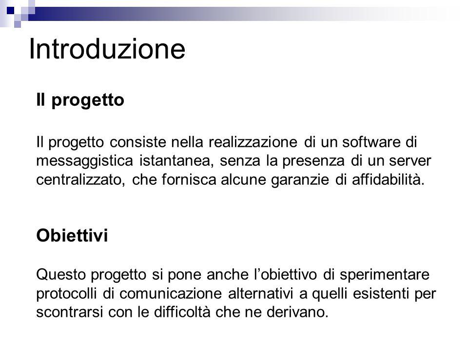 Introduzione Il progetto Il progetto consiste nella realizzazione di un software di messaggistica istantanea, senza la presenza di un server centraliz