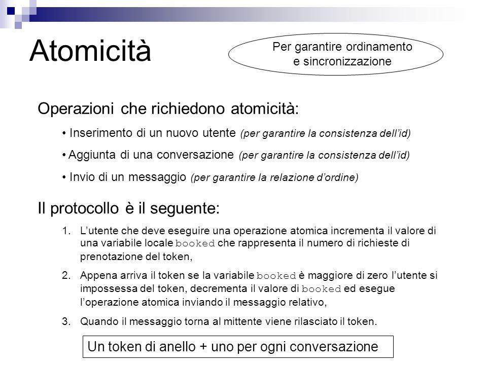 Atomicità Operazioni che richiedono atomicità: Inserimento di un nuovo utente (per garantire la consistenza dell'id) Aggiunta di una conversazione (pe