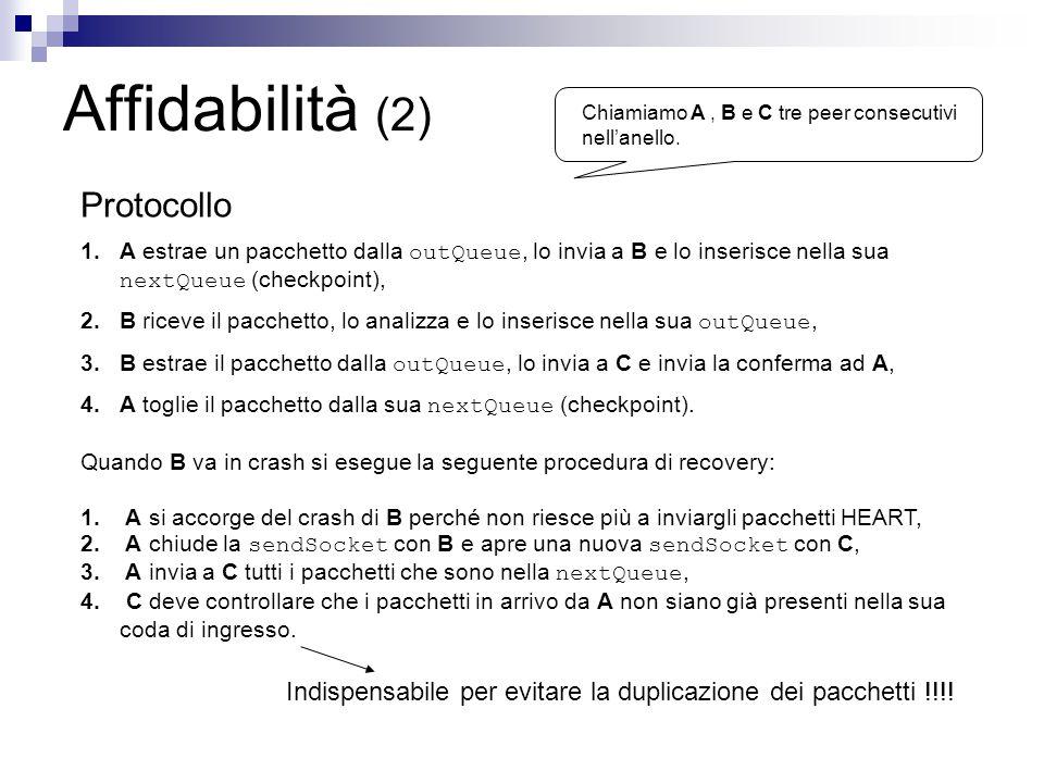 Affidabilità (2) Protocollo 1.A estrae un pacchetto dalla outQueue, lo invia a B e lo inserisce nella sua nextQueue (checkpoint), 2.B riceve il pacche