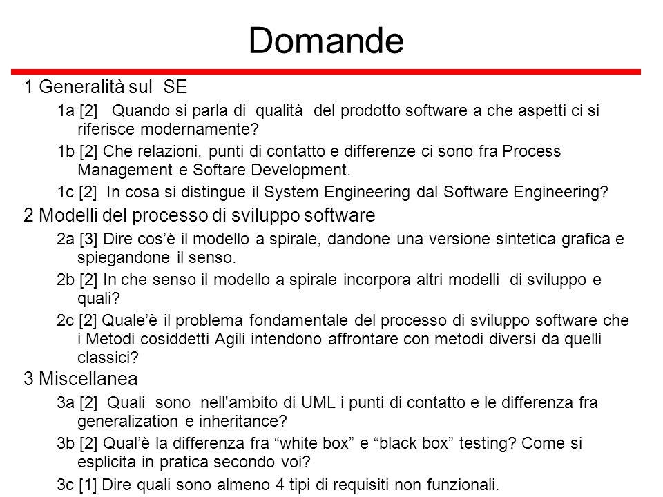 Domande 1 Generalità sul SE 1a [2] Quando si parla di qualità del prodotto software a che aspetti ci si riferisce modernamente.