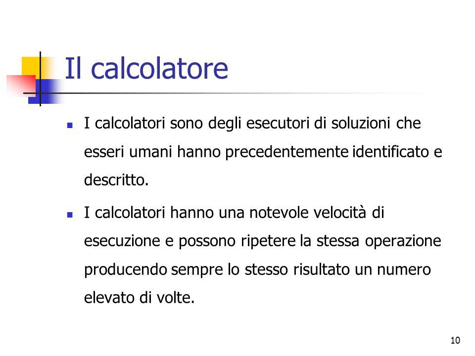 10 Il calcolatore I calcolatori sono degli esecutori di soluzioni che esseri umani hanno precedentemente identificato e descritto. I calcolatori hanno