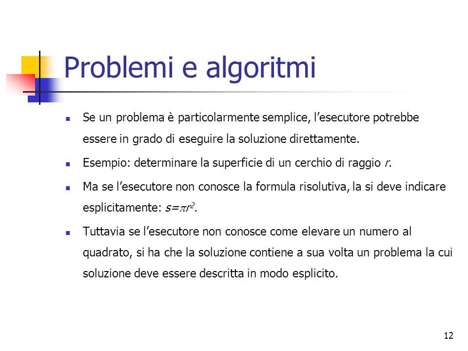 12 Problemi e algoritmi Se un problema è particolarmente semplice, l'esecutore potrebbe essere in grado di eseguire la soluzione direttamente. Esempio