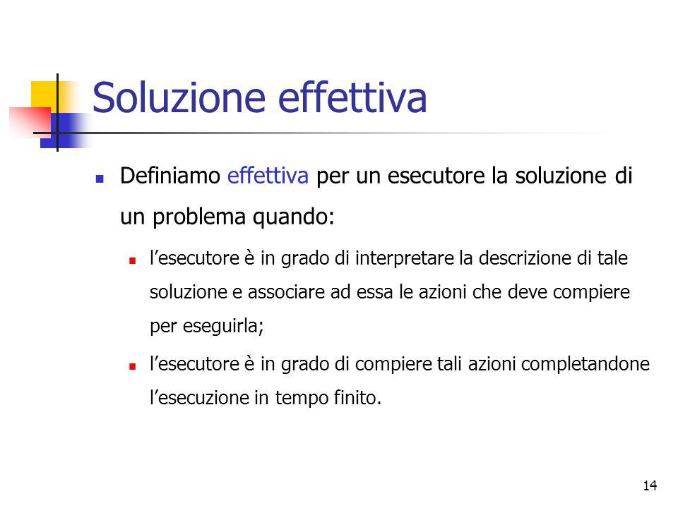 14 Soluzione effettiva Definiamo effettiva per un esecutore la soluzione di un problema quando: l'esecutore è in grado di interpretare la descrizione