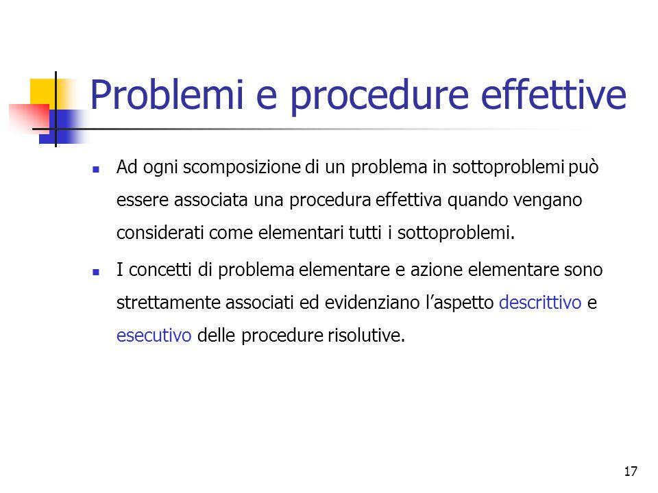 17 Problemi e procedure effettive Ad ogni scomposizione di un problema in sottoproblemi può essere associata una procedura effettiva quando vengano considerati come elementari tutti i sottoproblemi.