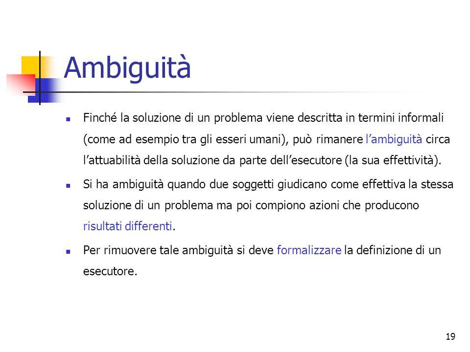 19 Ambiguità Finché la soluzione di un problema viene descritta in termini informali (come ad esempio tra gli esseri umani), può rimanere l'ambiguità circa l'attuabilità della soluzione da parte dell'esecutore (la sua effettività).