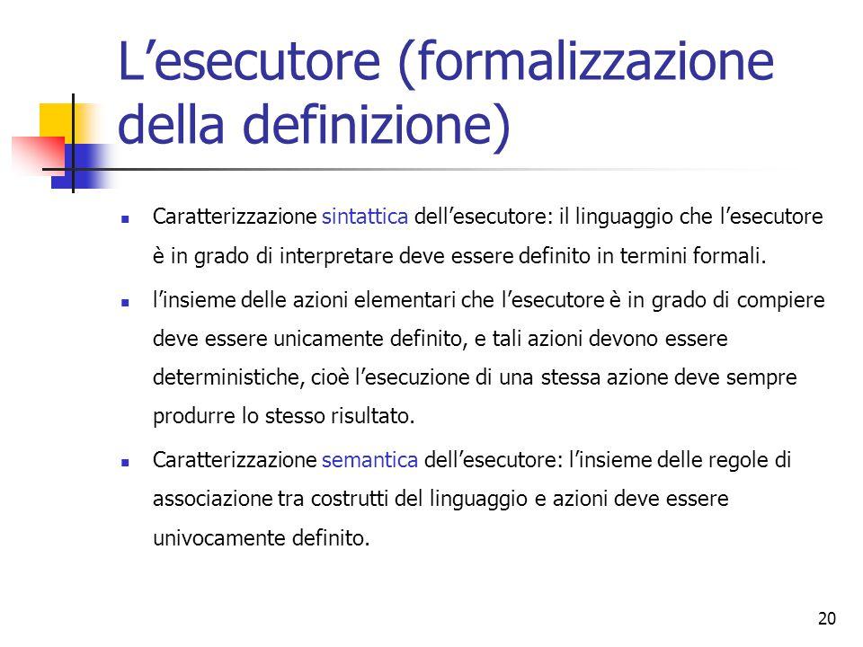 20 L'esecutore (formalizzazione della definizione) Caratterizzazione sintattica dell'esecutore: il linguaggio che l'esecutore è in grado di interpretare deve essere definito in termini formali.