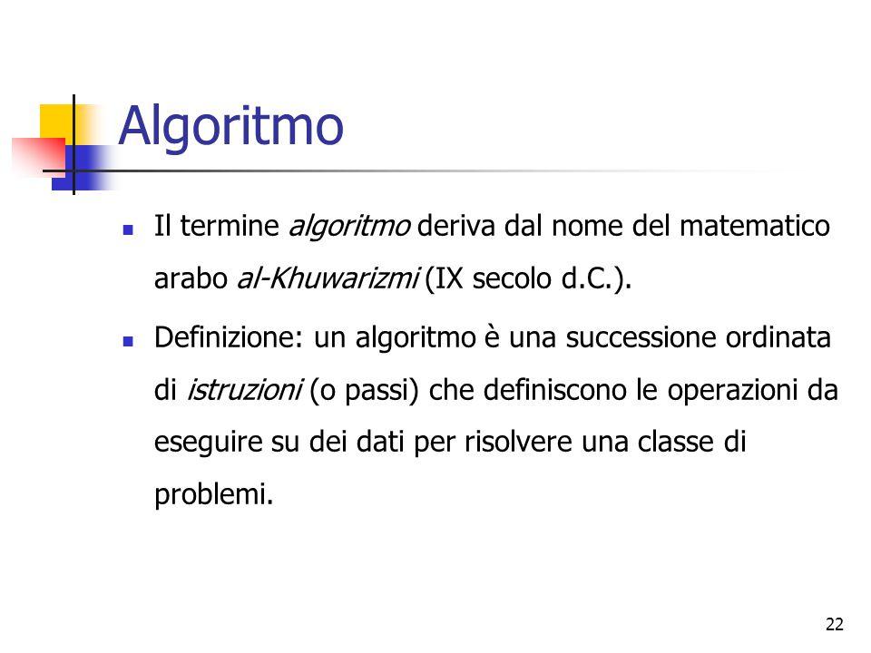 22 Algoritmo Il termine algoritmo deriva dal nome del matematico arabo al-Khuwarizmi (IX secolo d.C.). Definizione: un algoritmo è una successione ord