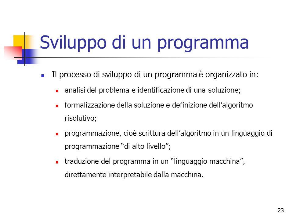 23 Sviluppo di un programma Il processo di sviluppo di un programma è organizzato in: analisi del problema e identificazione di una soluzione; formali