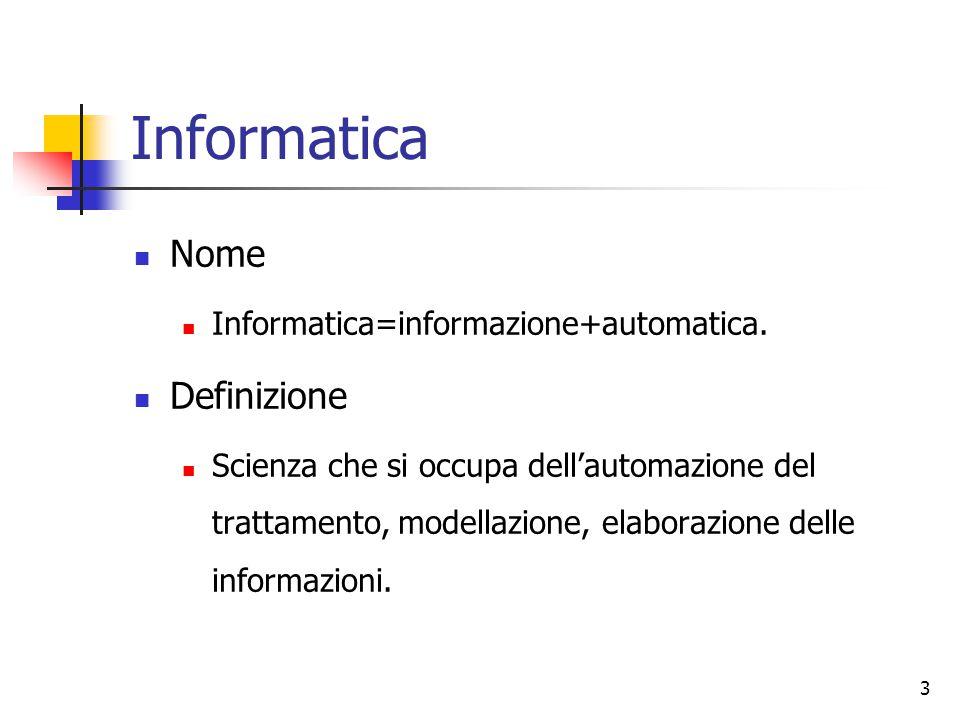 3 Informatica Nome Informatica=informazione+automatica. Definizione Scienza che si occupa dell'automazione del trattamento, modellazione, elaborazione