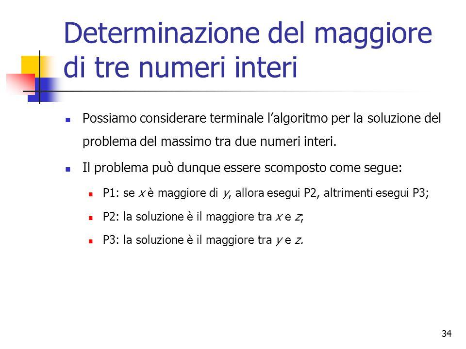 34 Determinazione del maggiore di tre numeri interi Possiamo considerare terminale l'algoritmo per la soluzione del problema del massimo tra due numeri interi.