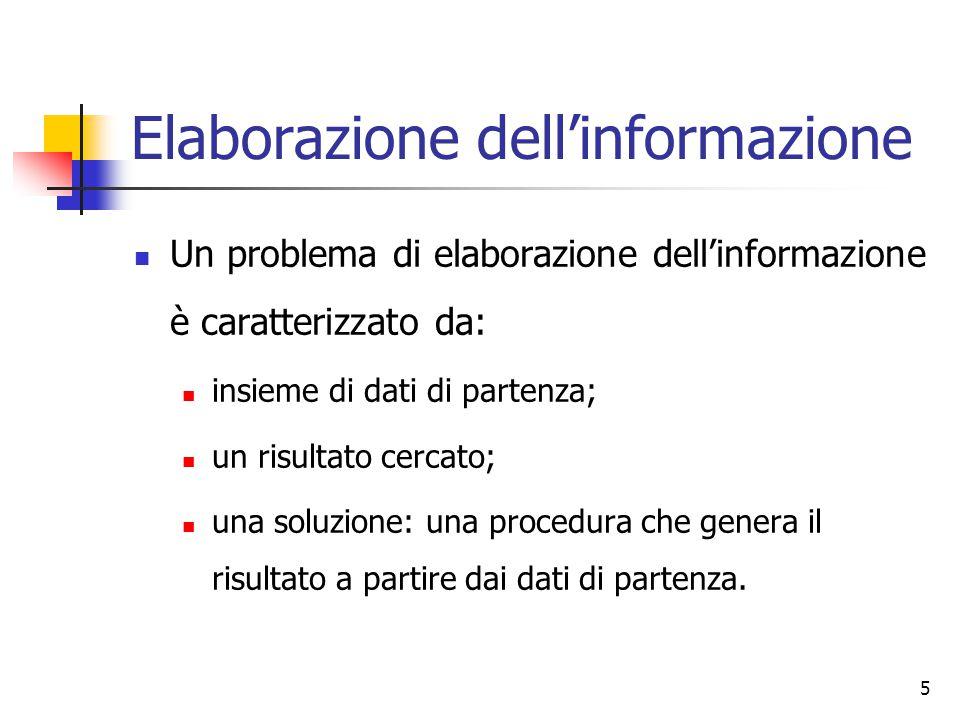 5 Elaborazione dell'informazione Un problema di elaborazione dell'informazione è caratterizzato da: insieme di dati di partenza; un risultato cercato; una soluzione: una procedura che genera il risultato a partire dai dati di partenza.