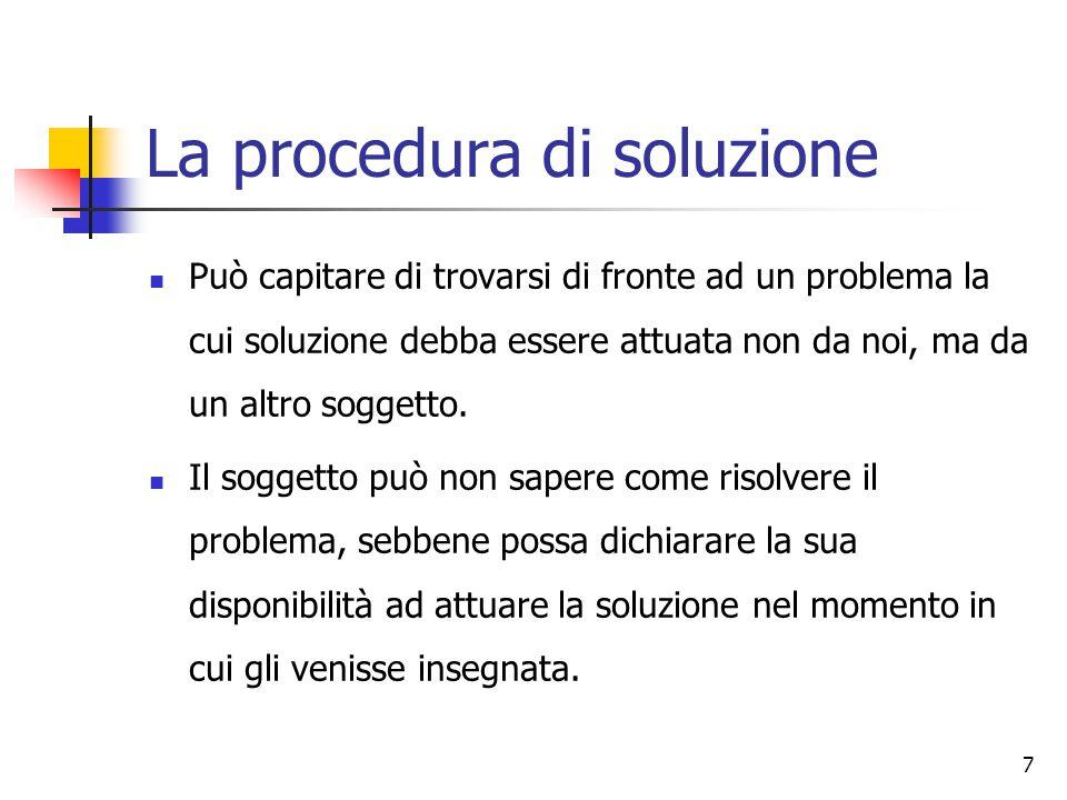 7 La procedura di soluzione Può capitare di trovarsi di fronte ad un problema la cui soluzione debba essere attuata non da noi, ma da un altro soggetto.