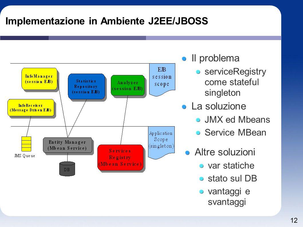 12 Implementazione in Ambiente J2EE/JBOSS Il problema serviceRegistry come stateful singleton La soluzione JMX ed Mbeans Service MBean Altre soluzioni var statiche stato sul DB vantaggi e svantaggi