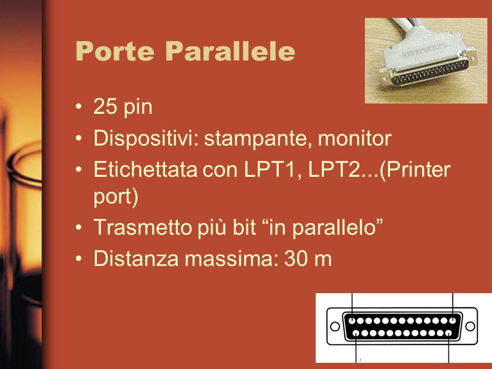Porte Parallele 25 pin Dispositivi: stampante, monitor Etichettata con LPT1, LPT2...(Printer port) Trasmetto più bit in parallelo Distanza massima: 30 m