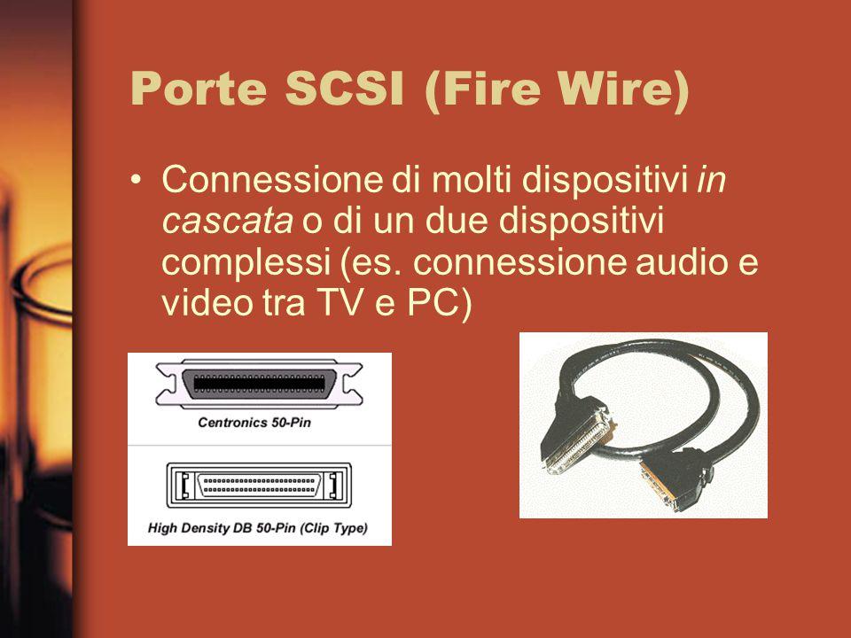 Porte SCSI (Fire Wire) Connessione di molti dispositivi in cascata o di un due dispositivi complessi (es.