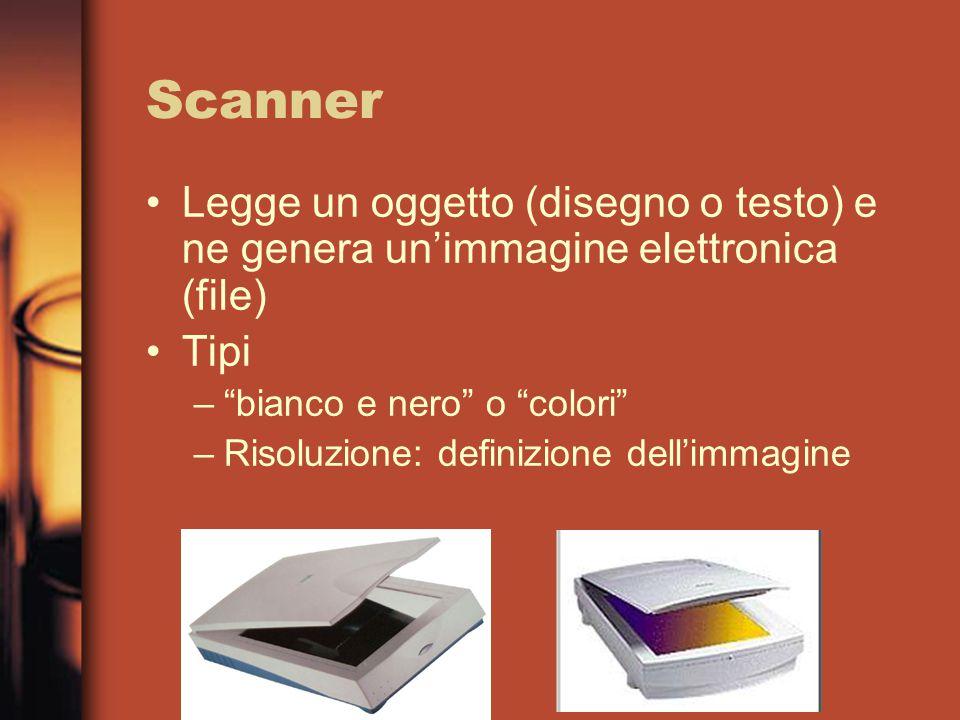 Scanner Legge un oggetto (disegno o testo) e ne genera un'immagine elettronica (file) Tipi – bianco e nero o colori –Risoluzione: definizione dell'immagine