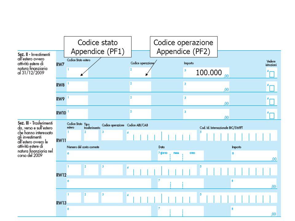 100.000 Codice operazione Appendice (PF2) Codice stato Appendice (PF1)