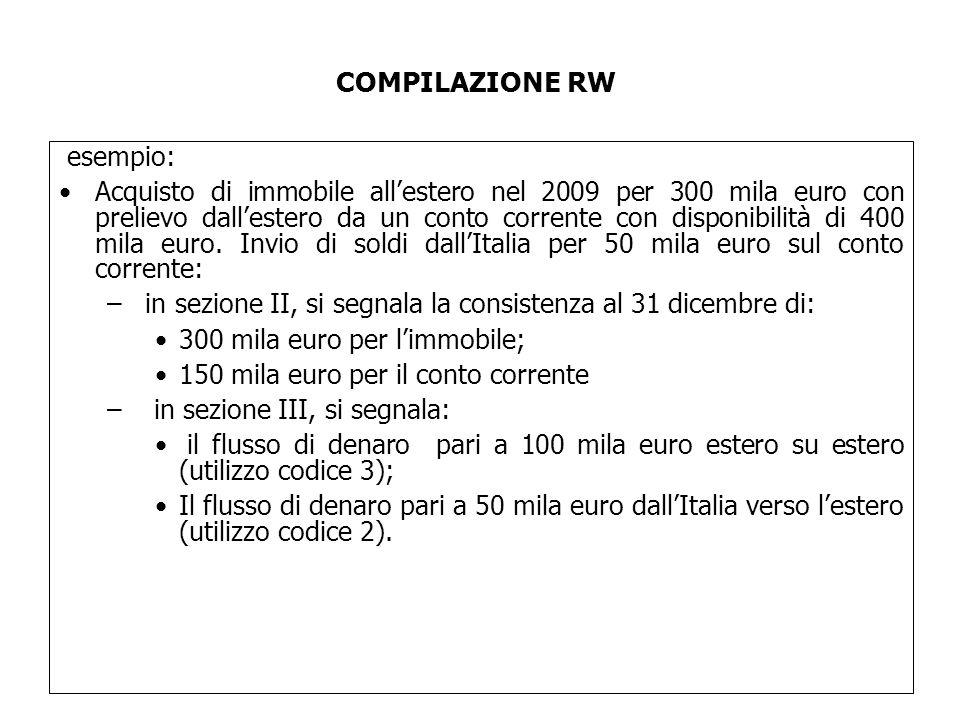esempio: Acquisto di immobile all'estero nel 2009 per 300 mila euro con prelievo dall'estero da un conto corrente con disponibilità di 400 mila euro.