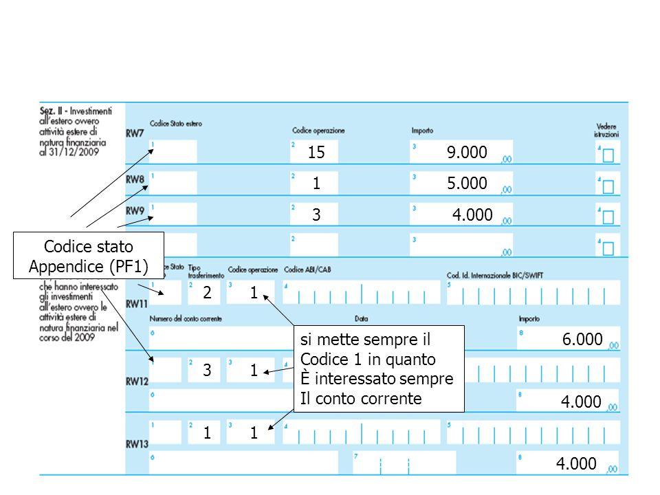 6.000 4.000 3 2 1 9.000 5.000 4.000 1 3 15 1 1 1 si mette sempre il Codice 1 in quanto È interessato sempre Il conto corrente Codice stato Appendice (PF1)