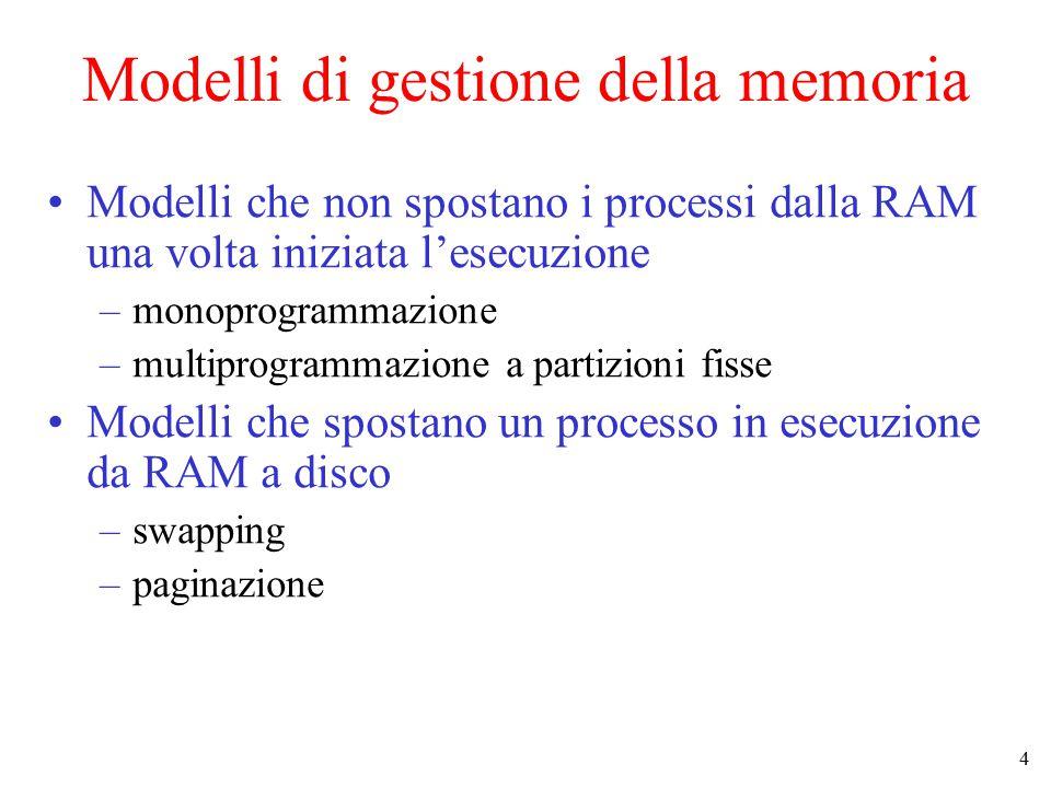 4 Modelli di gestione della memoria Modelli che non spostano i processi dalla RAM una volta iniziata l'esecuzione –monoprogrammazione –multiprogrammazione a partizioni fisse Modelli che spostano un processo in esecuzione da RAM a disco –swapping –paginazione