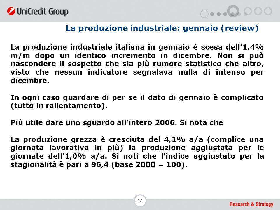 44 La produzione industriale: gennaio (review) La produzione industriale italiana in gennaio è scesa dell'1.4% m/m dopo un identico incremento in dice
