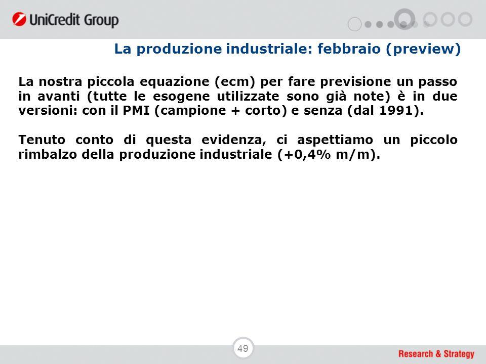 49 La produzione industriale: febbraio (preview) La nostra piccola equazione (ecm) per fare previsione un passo in avanti (tutte le esogene utilizzate