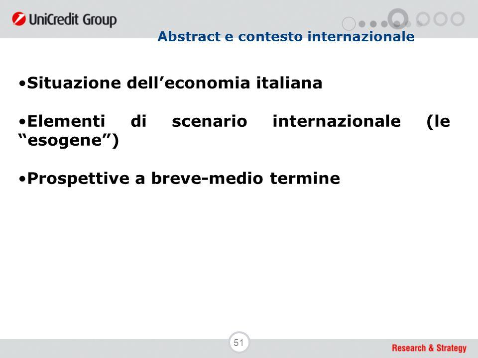 """51 Abstract e contesto internazionale Situazione dell'economia italiana Elementi di scenario internazionale (le """"esogene"""") Prospettive a breve-medio t"""