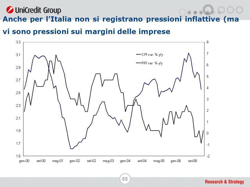 65 Anche per l'Italia non si registrano pressioni inflattive (ma vi sono pressioni sui margini delle imprese