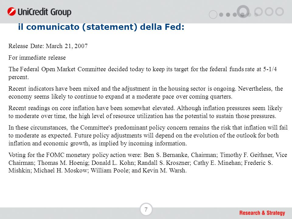 7 il comunicato (statement) della Fed: Release Date: March 21, 2007 For immediate release The Federal Open Market Committee decided today to keep its target for the federal funds rate at 5-1/4 percent.