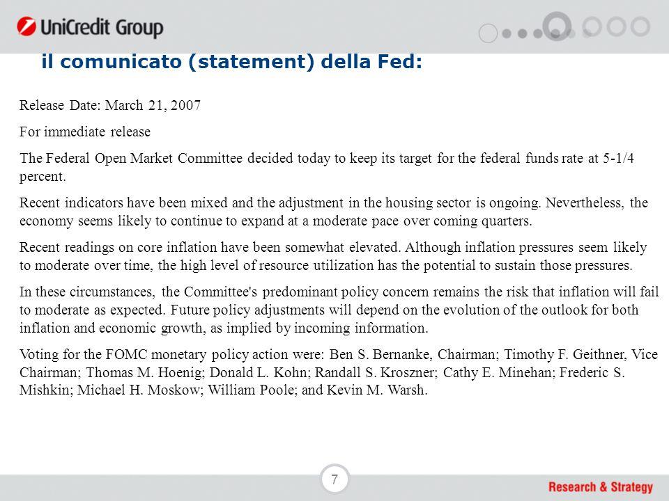 8 il comunicato (statement) della Fed: Nello statement la frase cerchiata in rosso sull'eventuale necessità di ulteriori rialzi scompare, in ragione dell'aumentata incertezza sulle condizioni macroeconomiche.