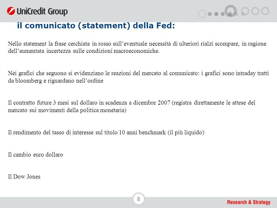 8 il comunicato (statement) della Fed: Nello statement la frase cerchiata in rosso sull'eventuale necessità di ulteriori rialzi scompare, in ragione d