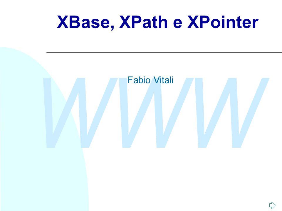 WWW Fabio Vitali12 Sintassi abbreviata In alcuni casi esistono delle forme abbreviate usabili invece della sintassi completa: u Child::x si può abbreviare con x u Attribute::x si può abbreviare con @x u Descendant si può abbreviare con '//', self con '.', parent con '..' Esempi: u /doc/chapter[5]/section[2]: la seconda sezione del quinto capitolo dell documento.