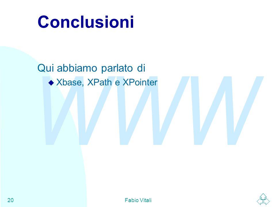 WWW Fabio Vitali20 Conclusioni Qui abbiamo parlato di u Xbase, XPath e XPointer