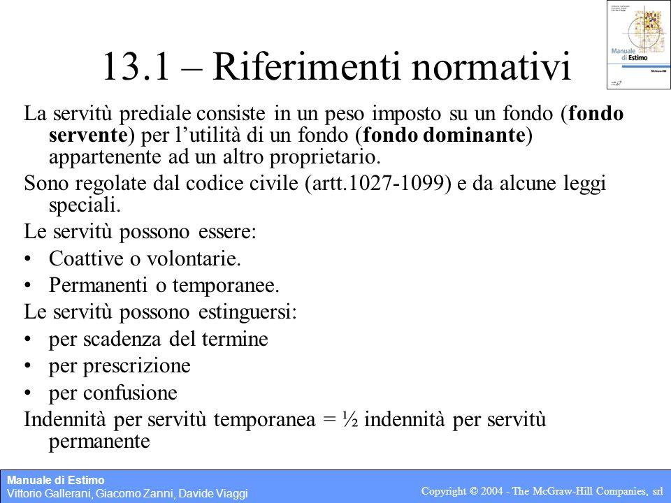 Manuale di Estimo Vittorio Gallerani, Giacomo Zanni, Davide Viaggi Copyright © 2004 - The McGraw-Hill Companies, srl 13.1 – Riferimenti normativi La s