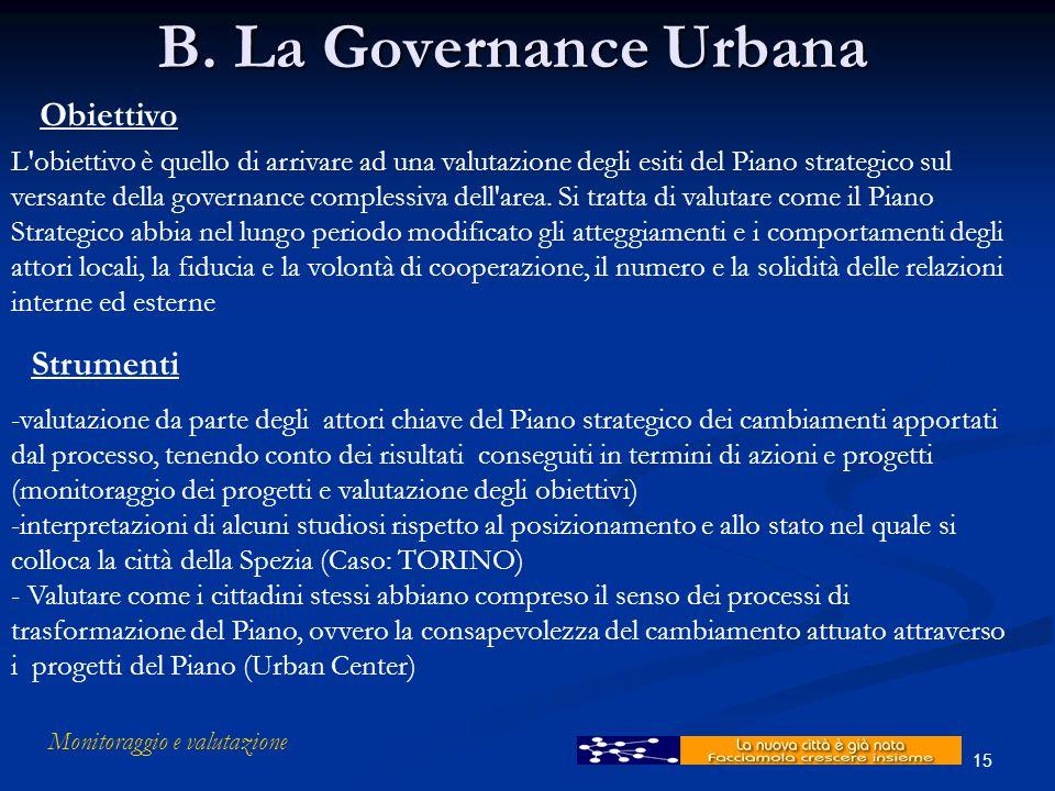 Monitoraggio e valutazione 15 B. La Governance Urbana Obiettivo L'obiettivo è quello di arrivare ad una valutazione degli esiti del Piano strategico s