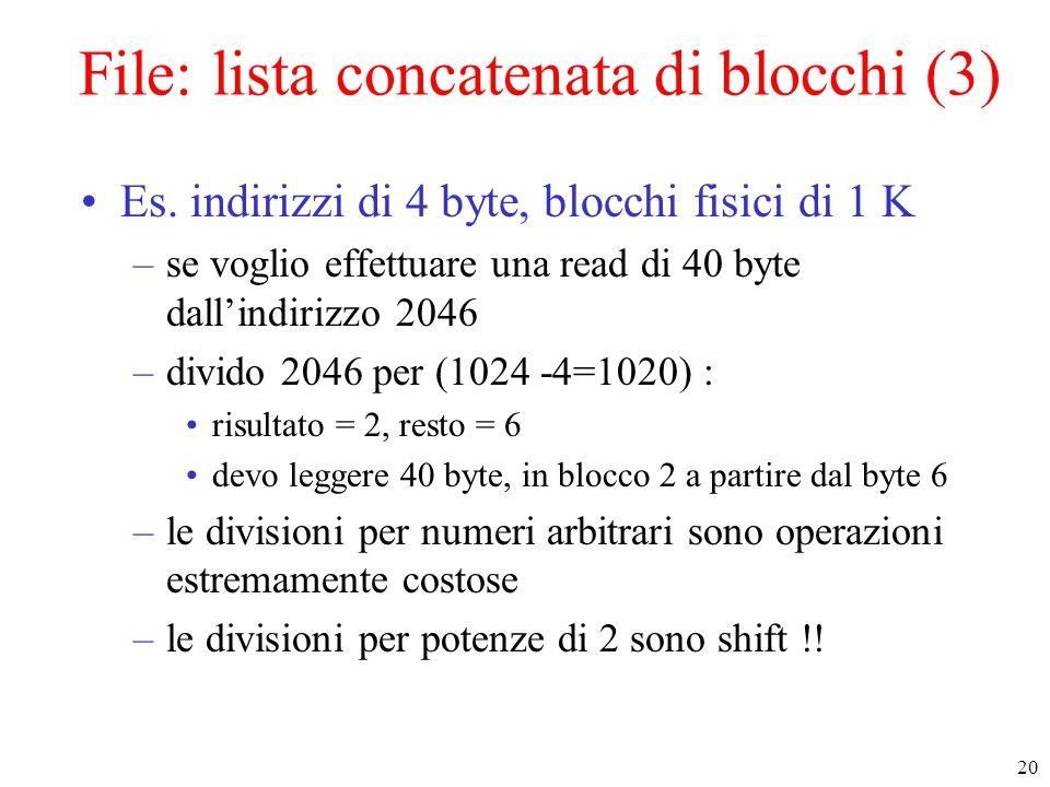 20 File: lista concatenata di blocchi (3) Es.