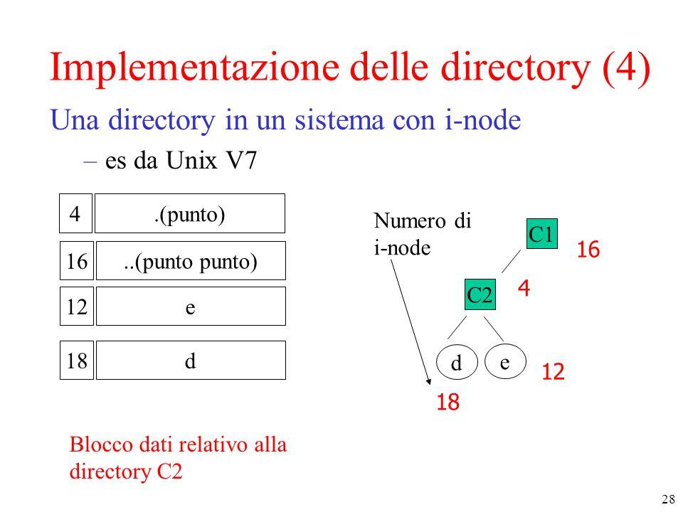 28 Implementazione delle directory (4) Una directory in un sistema con i-node –es da Unix V7 12e 16..(punto punto) 4.(punto) 18d C2 e d 4 16 12 18 C1 Numero di i-node Blocco dati relativo alla directory C2