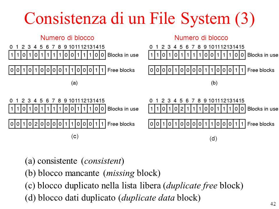 42 Consistenza di un File System (3) (a) consistente (consistent) (b) blocco mancante (missing block) (c) blocco duplicato nella lista libera (duplicate free block) (d) blocco dati duplicato (duplicate data block) Numero di blocco (c) (d)