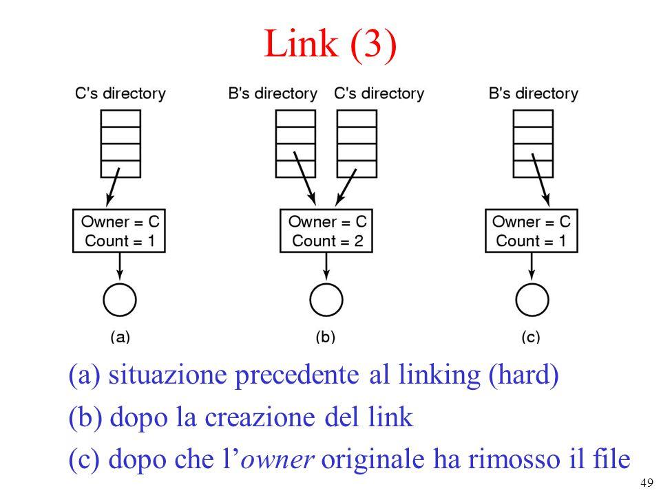 49 Link (3) (a) situazione precedente al linking (hard) (b) dopo la creazione del link (c) dopo che l'owner originale ha rimosso il file