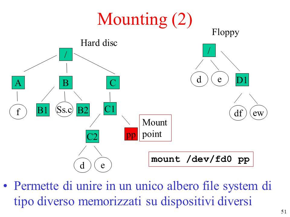 51 / ABC f B1B2 Ss.c C1 C2 e d Hard disc pp Mounting (2) Permette di unire in un unico albero file system di tipo diverso memorizzati su dispositivi diversi mount /dev/fd0 pp / e d D1 ew df Floppy Mount point