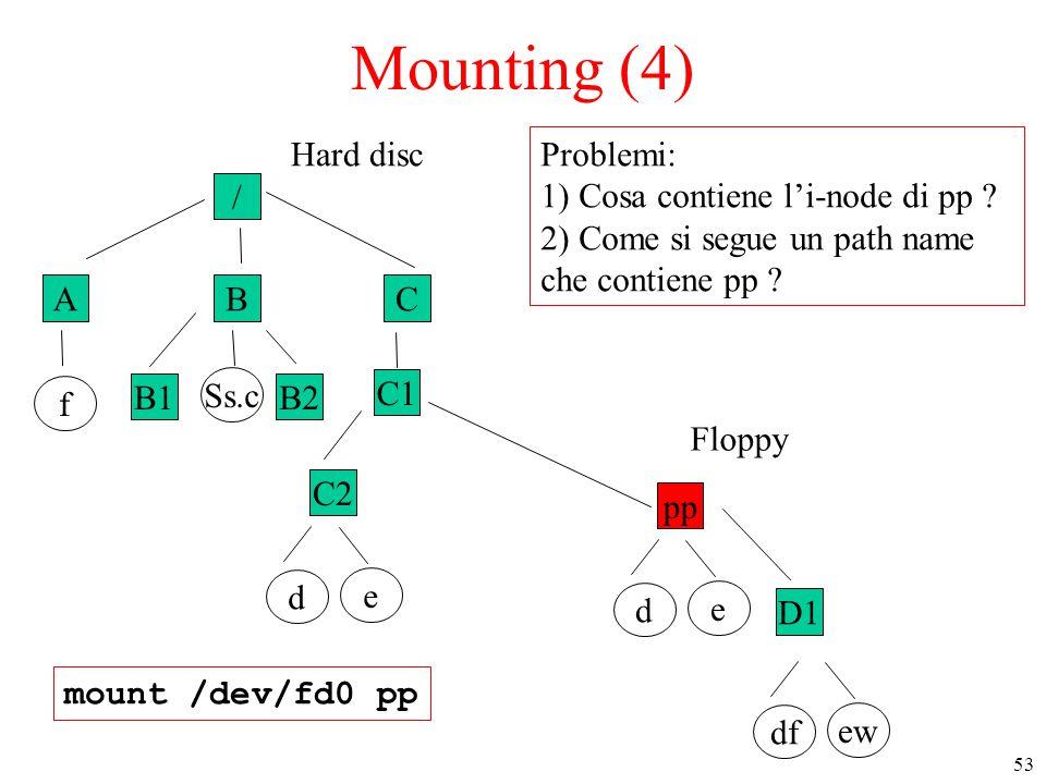 53 / ABC f B1B2 Ss.c C1 C2 e d Hard disc Mounting (4) mount /dev/fd0 pp pp e d D1 ew df Floppy Problemi: 1) Cosa contiene l'i-node di pp .