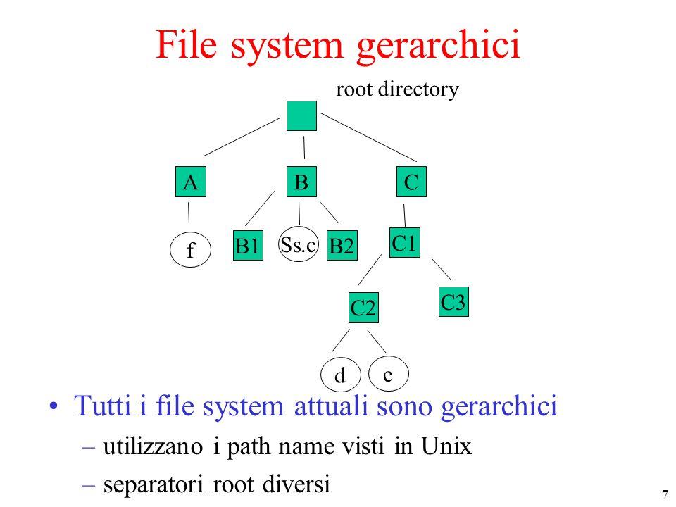 7 ABC f B1B2 Ss.c C1 C2 e d root directory C3 File system gerarchici Tutti i file system attuali sono gerarchici –utilizzano i path name visti in Unix –separatori root diversi