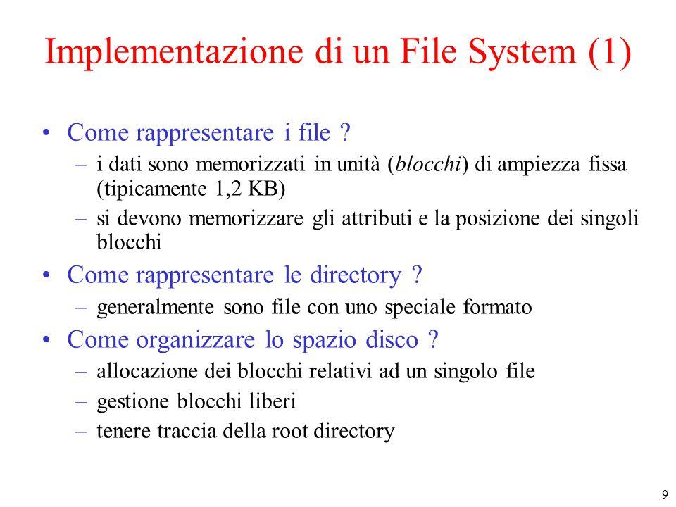 9 Implementazione di un File System (1) Come rappresentare i file .