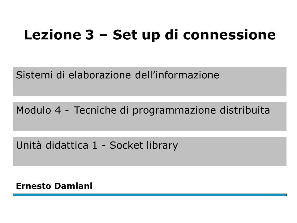 Setup di connessione (1) Va ricordato che per SOCK_DGRAM non c'è alcun setup di connessione.